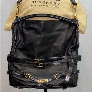 Authentic Burberry black leather satchel
